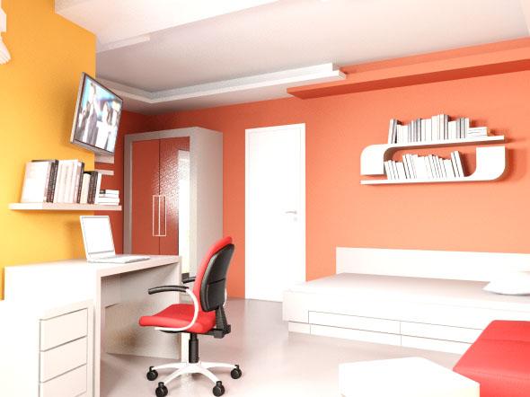 интериорен дизайн на детска в оранжево и жълто