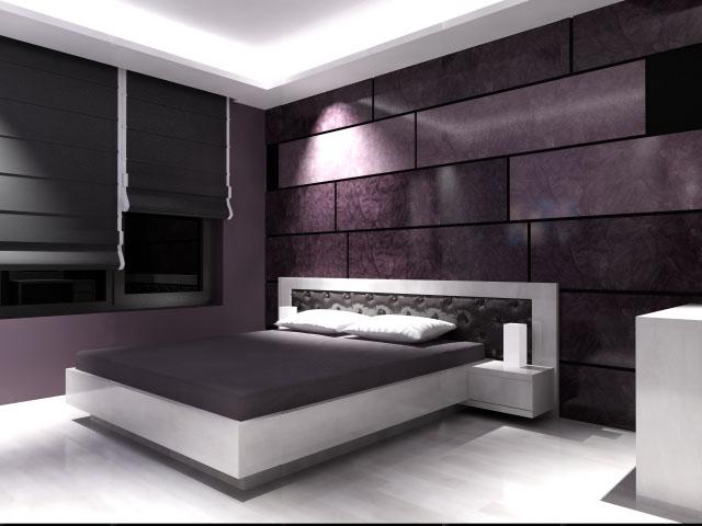 спалня с декоративна мазилка