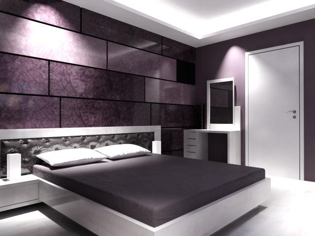 спалня с тапицирана кожена табла