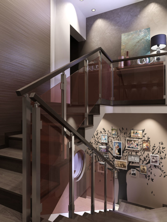 Парапет от стъкло, стъпала, декоративна мазилка, декорация, интериорно осветление.