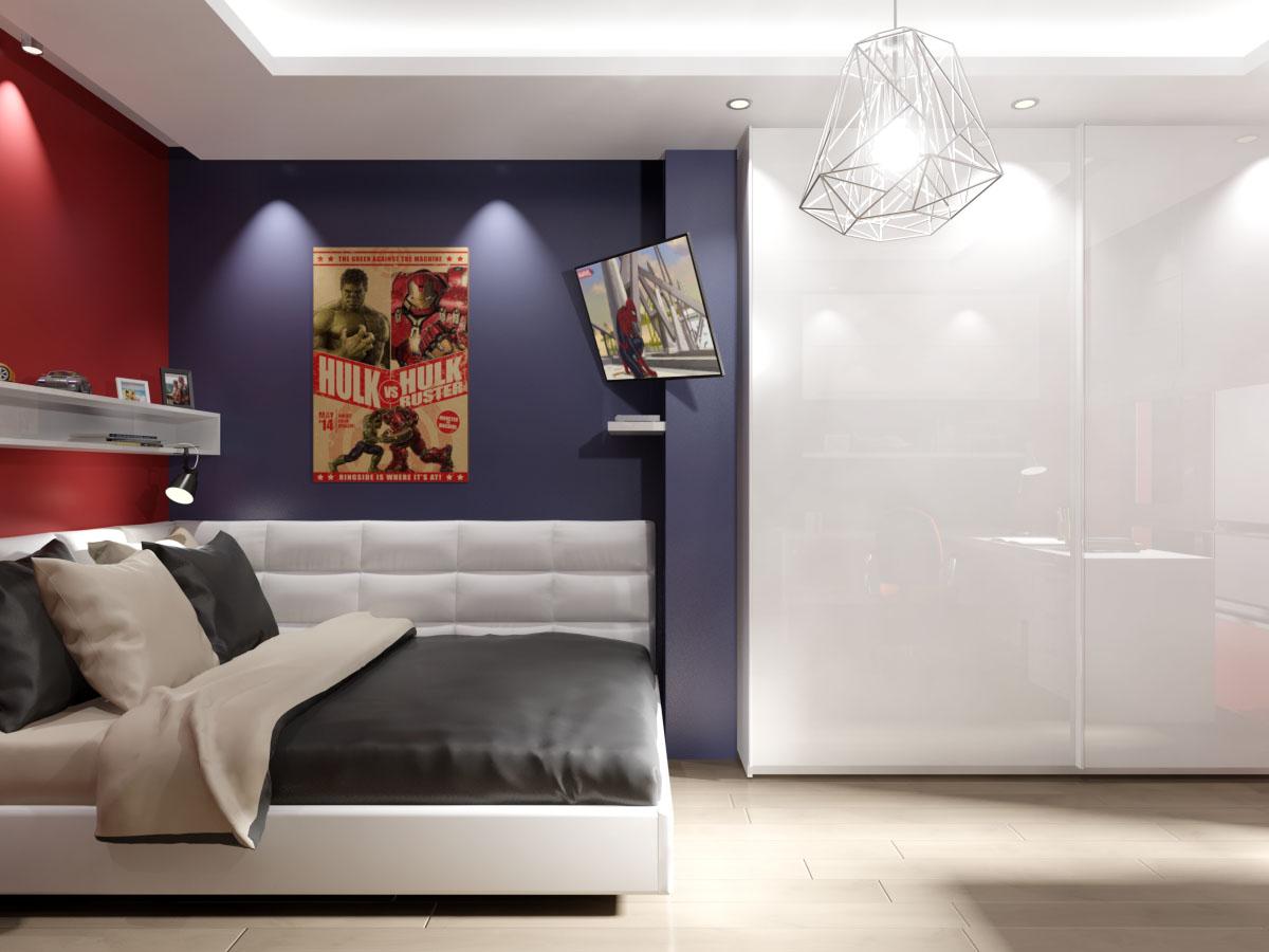 Мебели, тапицирано легло, гардероб, бял гланц, скрито осветление, луни, модерен полилей за детска стая, плакати за детска стая.