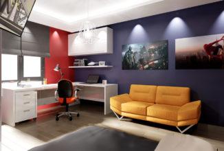 Модерен диван, сини, червени стени, бели мебели, гланц, окачен таван, бюро