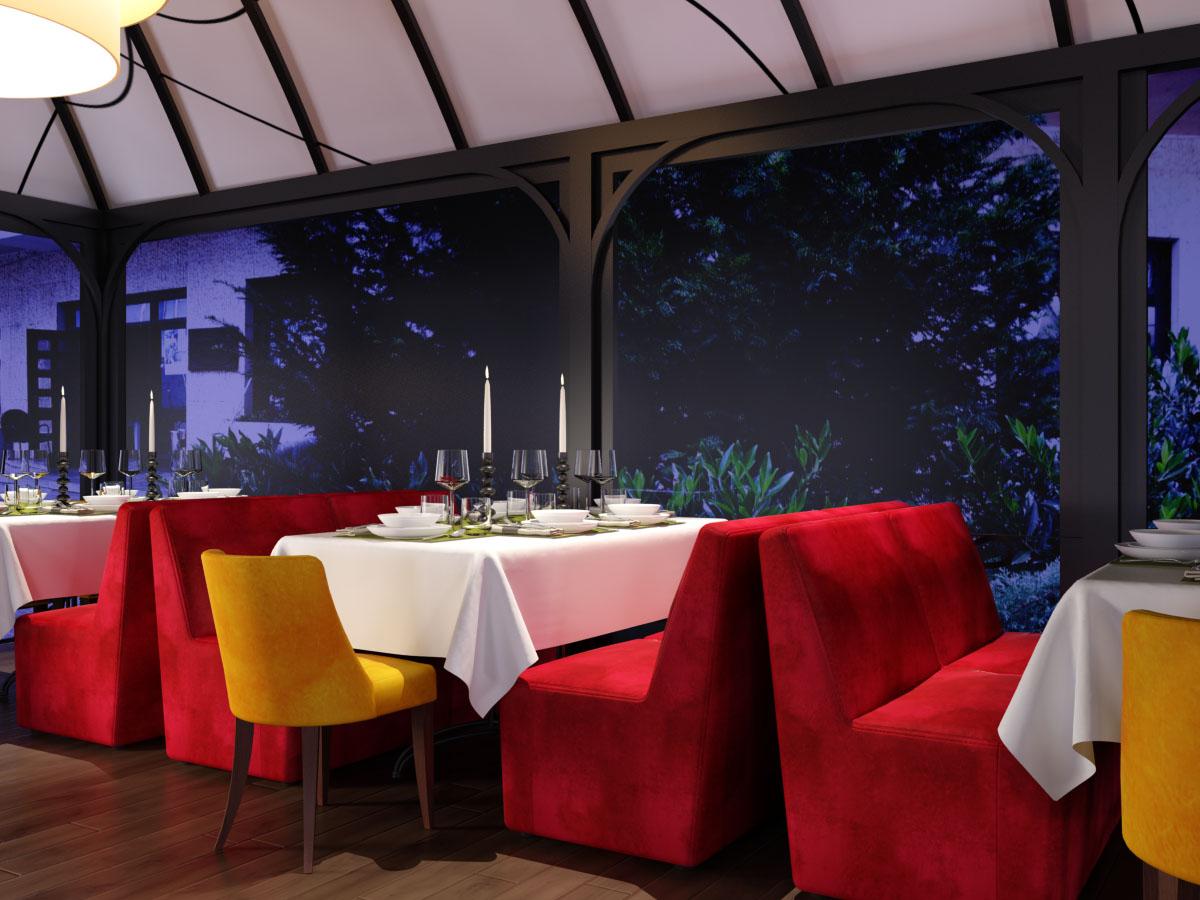 Ресторант с тапицирани столове и дивани