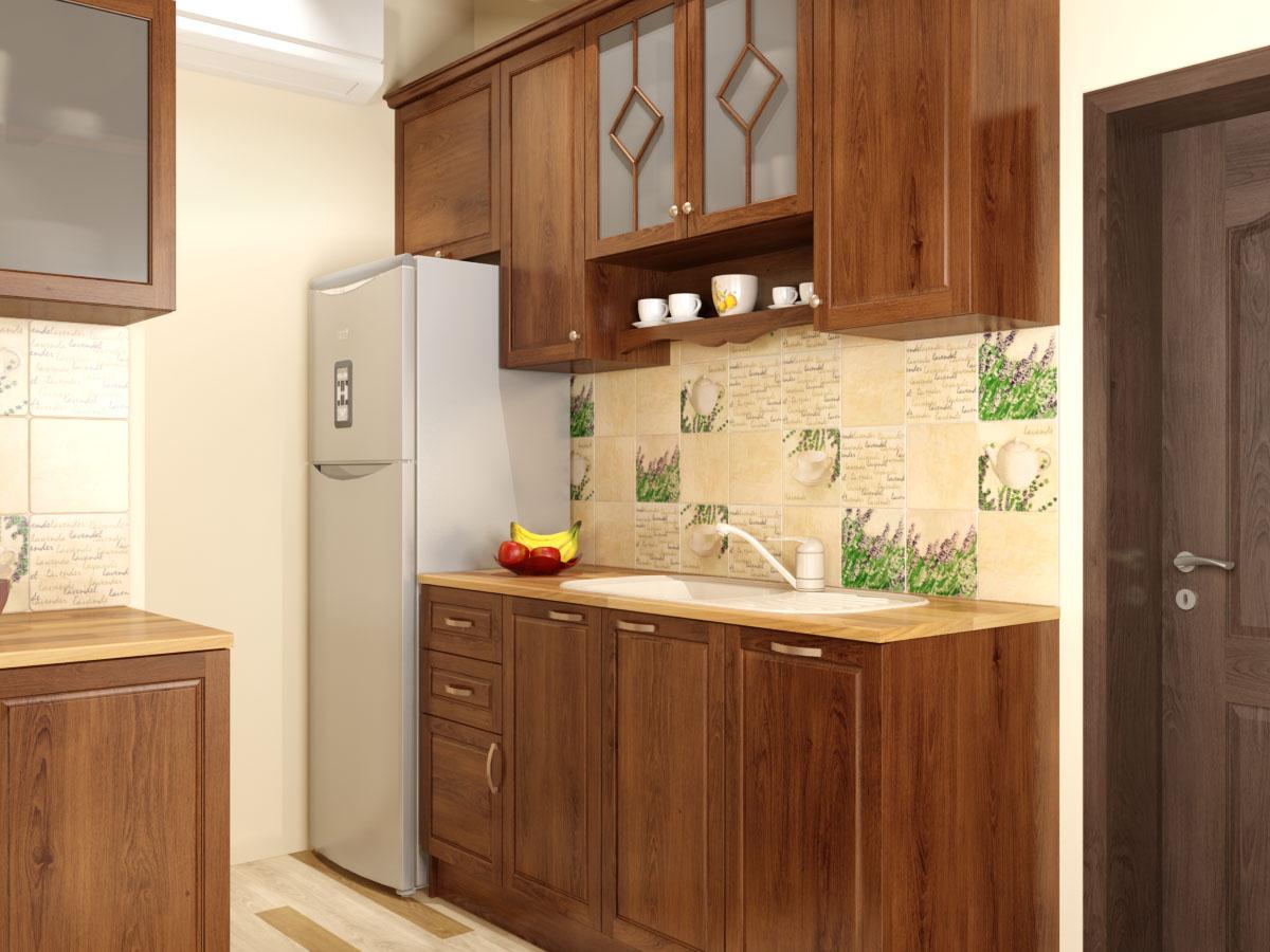 Кухня от масив и кухненски плочки