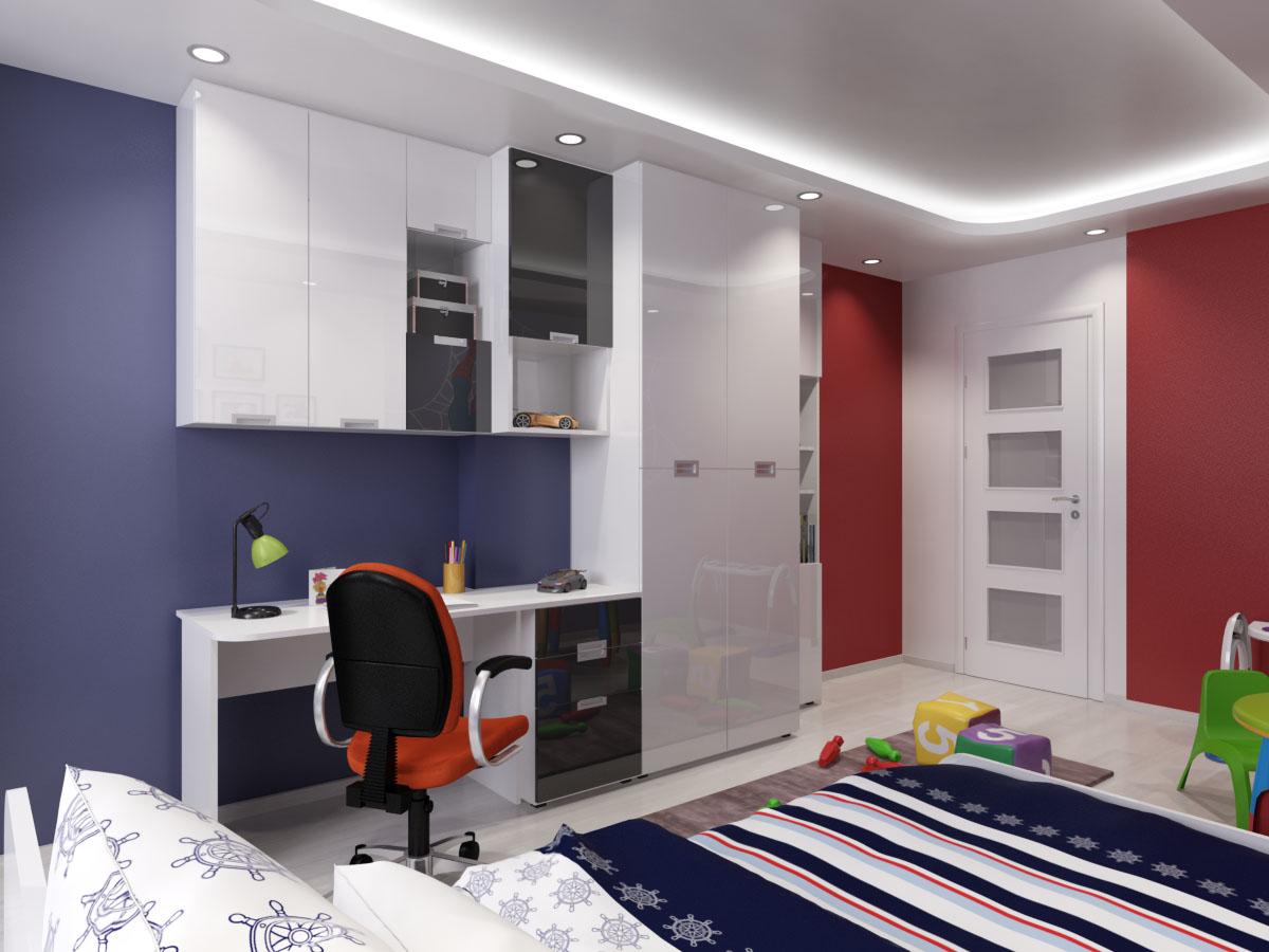 Дизайн на бюро и гардероб за детска