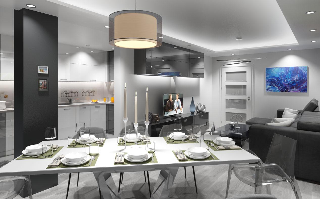 Дизайн на трапезария. Маса с осем стола.
