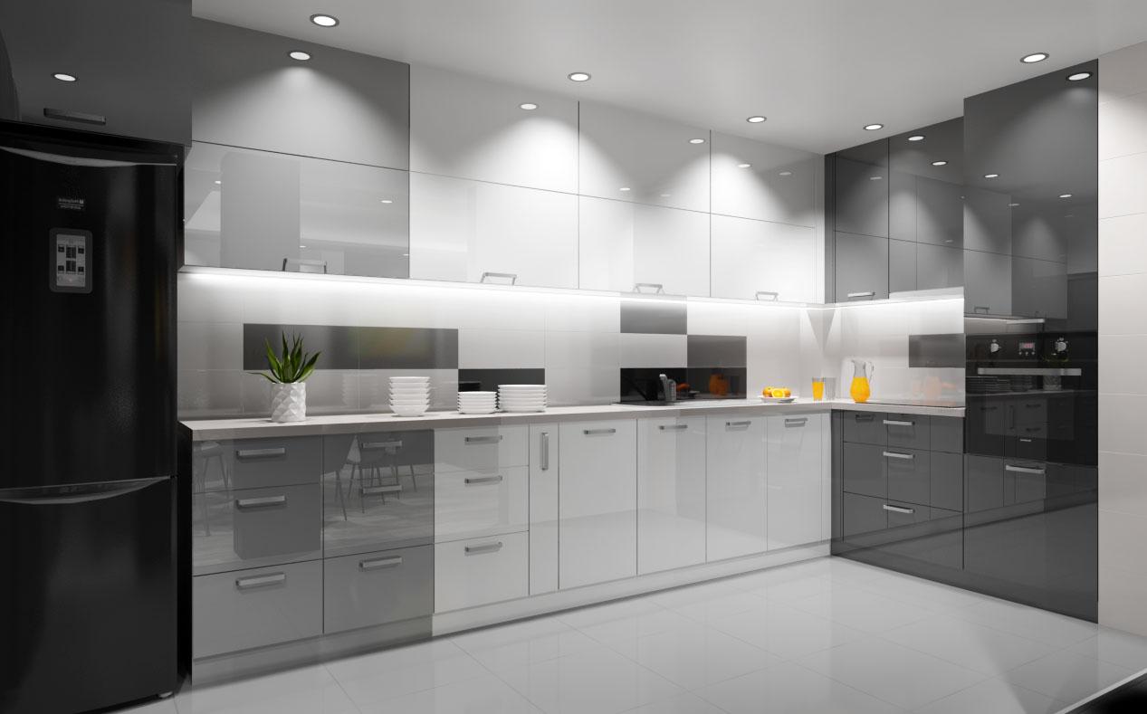 Кухня с гланцирани мебели